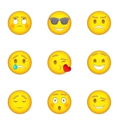 Emoticon icons set cartoon style vector image vector image