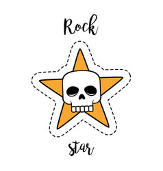 Fashion patch element rock star skull vector