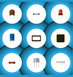flat icon technology set of triode memory vector image vector image