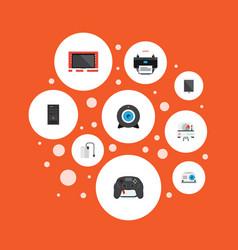 Flat icons presentation printer palmtop and vector