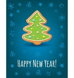 Greeting card with happy new year inscription and vector