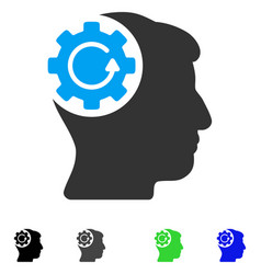 Intellect gear rotation flat icon vector