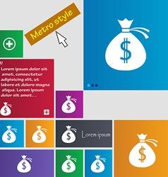 Money bag icon sign metro style buttons modern vector