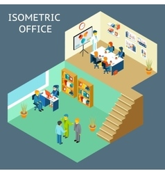 Office work Isometric flat 3d about office staff vector image