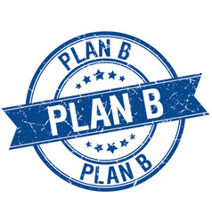 Plan b grunge retro blue isolated ribbon stamp vector