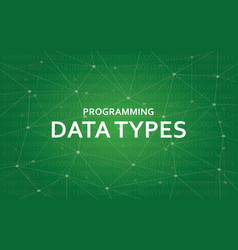 Programming data types white text vector