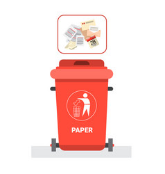 Rubbish container for paper waste icon recycle vector