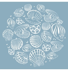 Seashell round design element vector
