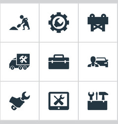 Set of simple repairing icons vector