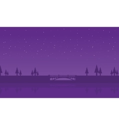 Silhouette of spruce and bridge vector