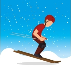 Skiing man snowflake extreme sports vector