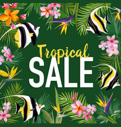 Summer sale banner with tropical flowers vector