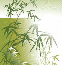 sunset with bamboo vector image vector image