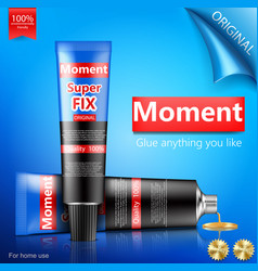 super or moment glue tube realistic vector image vector image