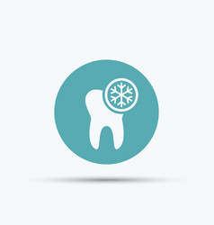 Tooth and snowflake isolated round icon vector