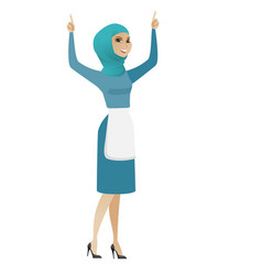 Young muslim cleaner standing with raised arms up vector