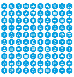 100 team work icons set blue vector