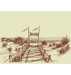The way to the beach sea view ahead drawing vector image