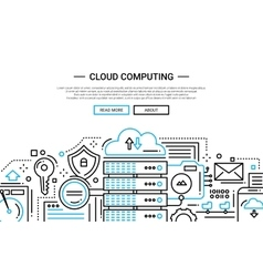 Cloud computing - line design website banner vector