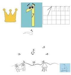 Children s math homework digit one points ship vector
