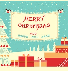 Merry christmas and new year background with text vector