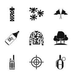 Outfit paintball icons set simple style vector