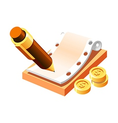 Pen and money vector