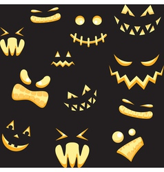 Seamless background with halloween faces vector