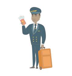 African steward showing passport and ticket vector