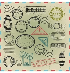 Vintage postage stamps collection vector