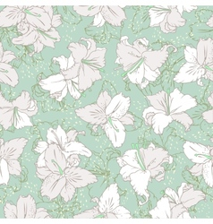 White lilies seamless pattern vector