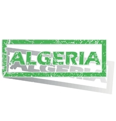 Green outlined algeria stamp vector