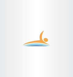 Man swim in lake icon logo vector