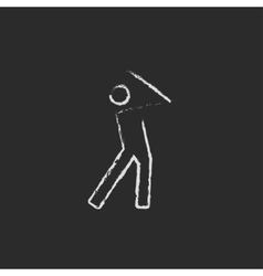Golfer icon drawn in chalk vector