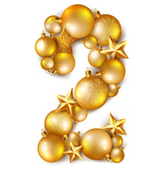 Number 2 made of shiny christmas tree balls vector
