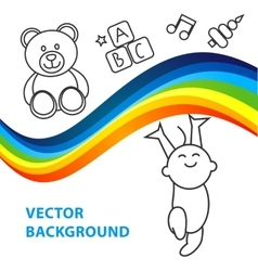 Background of joyful baby holds rainbow vector
