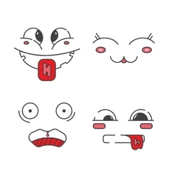 Set of line emoticons vector