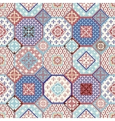 Seamless pattern patchwork mix moroccan vector