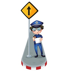A policeman beside a yellow signage vector image vector image