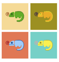 Assembly flat icons reptile chameleon vector