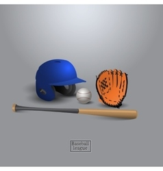 Baseball helmet bit glove and ball vector image