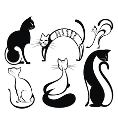 Black cat silhouette collections vector image vector image
