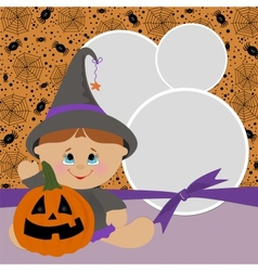 Blank template for Halloween photo frame vector image