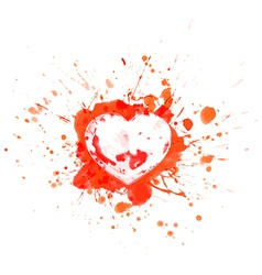 Bloody heart on red splashes and sports vector image