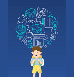 Boy student with education icons vector
