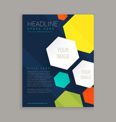 Business brochure design with colorful hexagonal vector
