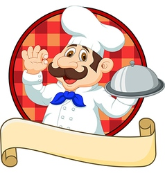 Cartoon funny Chef cartoon holding platter with ok vector image vector image
