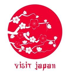 Cherry blossom sakura branch silhouette vector