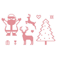 Cross stitch christmas symbols vector