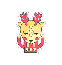 Cute fawn colorful cloth patch applique for vector